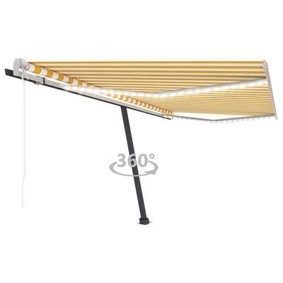 vidaXL Copertină automată cu senzor vânt&LED, galben/alb, 400x350 cm
