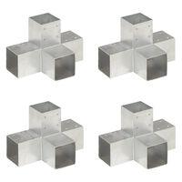 vidaXL Conectori de grindă, formă X, 4 buc, 91x91 mm, metal galvanizat
