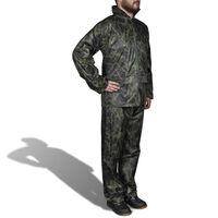 Costum ploaie bărbați 2 piese cu glugă Camuflaj XL