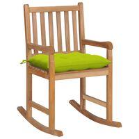vidaXL Scaun balansoar cu pernă verde aprins, lemn masiv de tec