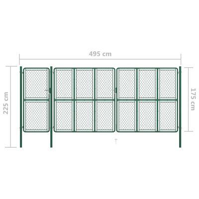 vidaXL Poartă de grădină, verde, 175x495 cm, oțel