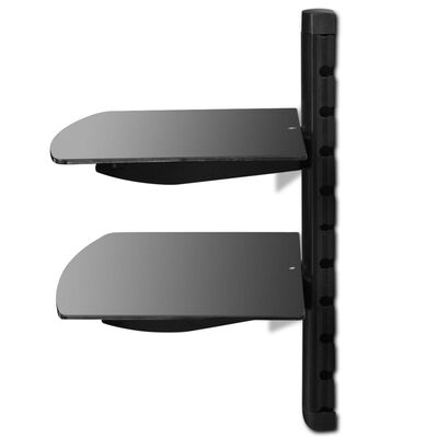 vidaXL Raft DVD din sticlă montat pe perete cu 2 niveluri negru