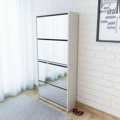 vidaXL Pantofar cu 4 niveluri și oglindă, alb, 63 x 17 x 134 cm