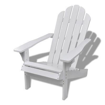 vidaXL Scaun de grădină cu taburet, alb, lemn