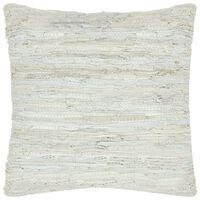 vidaXL Pernă Chindi, gri deschis, 60 x 60 cm, piele și bumbac