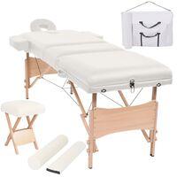 vidaXL Set taburet și masă masaj pliabilă, 3 zone, grosime 10 cm, alb