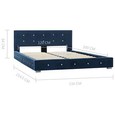 vidaXL Pat cu saltea, albastru, 120x200 cm, catifea