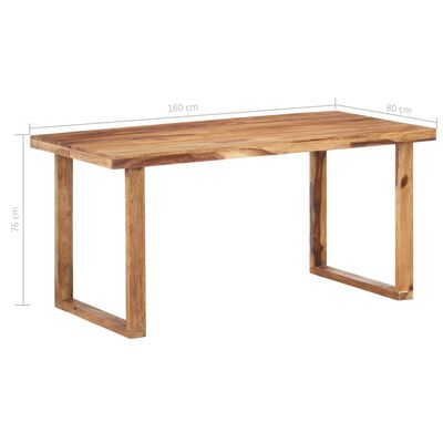 vidaXL Masă de bucătărie, 160 x 80 x 76 cm, lemn masiv de sheesham