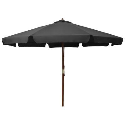 vidaXL Umbrelă de soare de exterior, stâlp din lemn, antracit, 330 cm