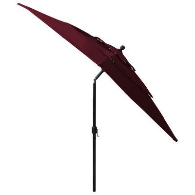 vidaXL Umbrelă de soare 3 niveluri stâlp aluminiu roșu bordo 2,5x2,5 m