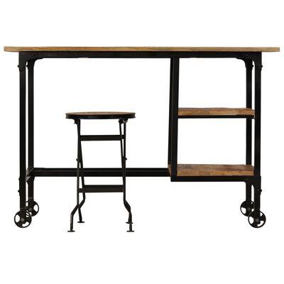 vidaXL Birou cu scaun pliabil, lemn masiv de mango, 115 x 50 x 76 cm