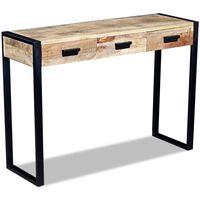 vidaXL Masă consolă cu 3 sertare, lemn de mango dur, 110 x 35 x 78 cm