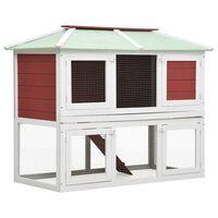 vidaXL Cușcă pentru iepuri și alte animale, 2 niveluri, roșu, lemn