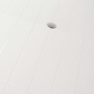 vidaXL Set mobilier de exterior, 7 piese, alb, plastic