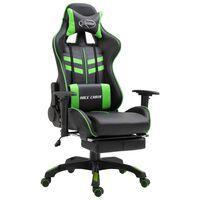 vidaXL Scaun jocuri cu suport picioare, verde, piele ecologică