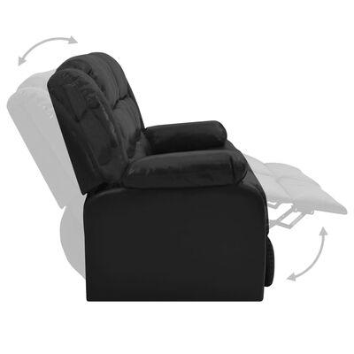 vidaXL Set canapea rabatabilă, 2 piese, negru, piele ecologică