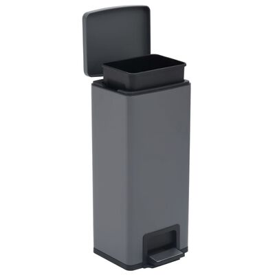 vidaXL Coș de gunoi cu pedală anti-amprentă, gri, 30L, oțel inoxidabil