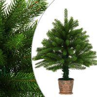 vidaXL Brad de Crăciun artificial, ace cu aspect natural, 65 cm, verde