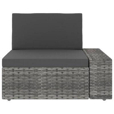 vidaXL Set mobilier de grădină, 10 piese, gri, poliratan