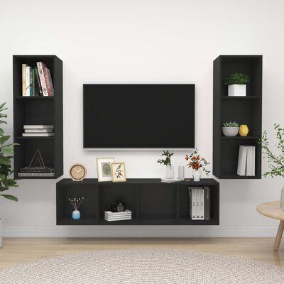 vidaXL Set dulap TV, 3 piese, negru, PAL