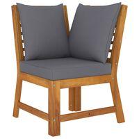 vidaXL Canapea de colț modulară, pernă gri închis, lemn masiv acacia