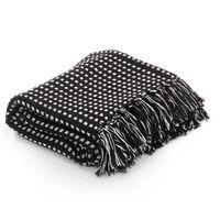 vidaXL Pătură decorativă cu pătrățele, bumbac, 125 x 150 cm, negru