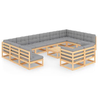 vidaXL Set mobilier de grădină cu perne, 13 piese, lemn masiv de pin