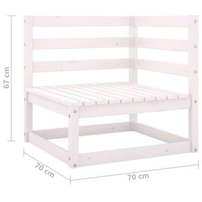 vidaXL Set mobilier de grădină cu perne, 13 piese, alb, lemn masiv pin