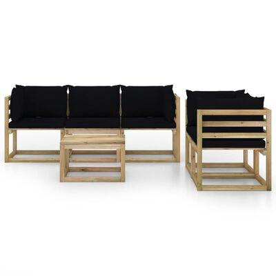 vidaXL Set mobilier de grădină cu perne negre, 6 piese