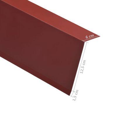 vidaXL Plăci bordură acoperiș în L, 5 buc., roșu, 170 cm, aluminiu