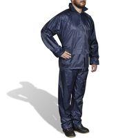 Costum ploaie bărbați 2 piese cu glugă Bleumarin XL
