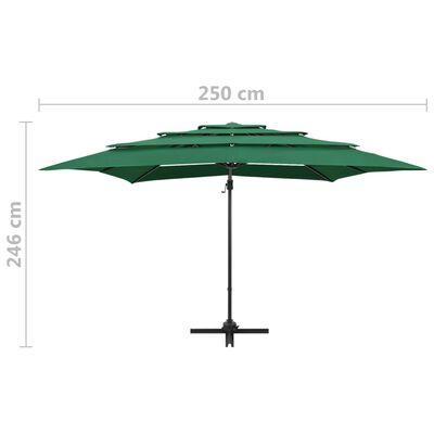 vidaXL Umbrelă de soare 4 niveluri, stâlp aluminiu, verde, 250x250 cm