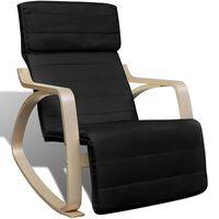 vidaXL Scaun balansoar, negru, lemn curbat și material textil