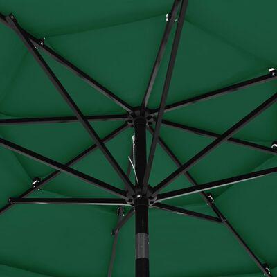 vidaXL Umbrelă de soare 3 niveluri, stâlp de aluminiu, verde, 3 m