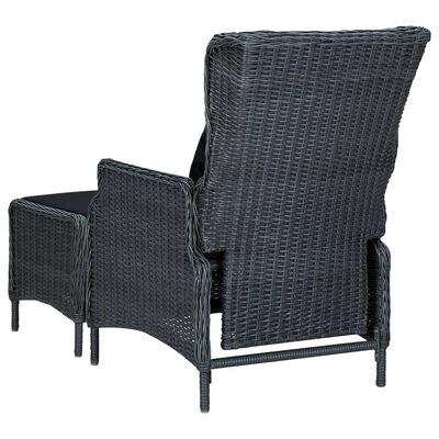 vidaXL Set mobilier de grădină cu perne, 3 piese, gri închis poliratan