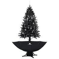 vidaXL Brad de Crăciun cu ninsoare și bază umbrelă, negru, 190 cm, PVC