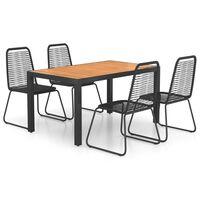 vidaXL Set mobilier de grădină, 5 piese, negru și maro, ratan PVC