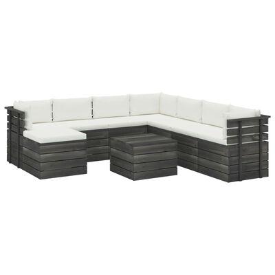 vidaXL Set mobilier grădină paleți cu perne, 9 piese, lemn masiv pin