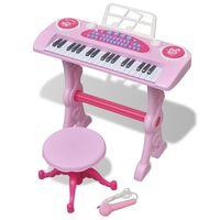 Orgă pentru copii cu scaun/microfon, 37 Clape, Roz