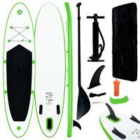 vidaXL Set placă gonflabilă SUP, verde și alb