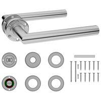 vidaXL Set mâner de ușă cu rozetă WC, oțel inoxidabil