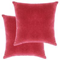 vidaXL Perne decorative, 2 buc., roz, 45 x 45 cm, catifea bumbac