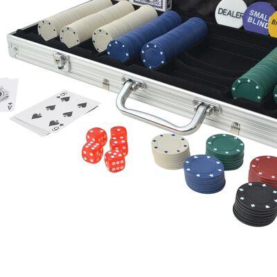 vidaXL Set de poker cu 500 de jetoane din aluminiu
