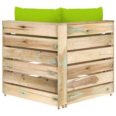 vidaXL Canapea de colț modulară cu perne, lemn verde tratat