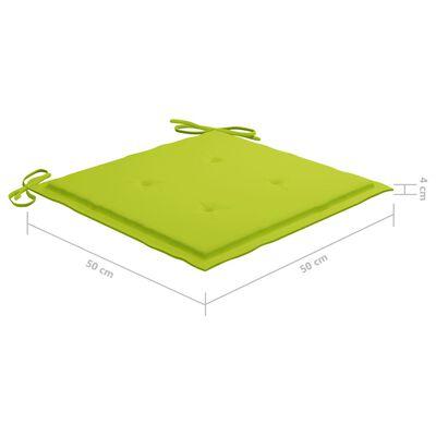 vidaXL Scaune de grădină cu perne verde crud, 4 buc., lemn masiv tec