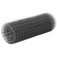 vidaXL Plasă de sârmă găini, gri, 25 x 0,5 m, oțel cu înveliș PVC