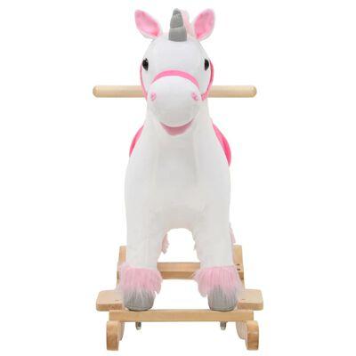 vidaXL Balansoar unicorn de pluș, 65 x 32 x 58 cm, alb și roz
