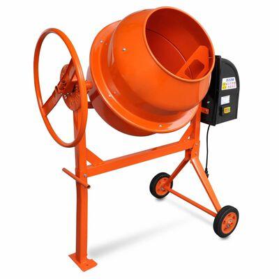 Mixer de beton și ciment 140 L 650 W din oțel portocaliu