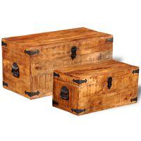 vidaXL Set cufere de depozitare, 2 piese, lemn mango nefinisat