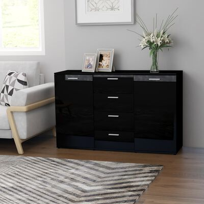 vidaXL Servantă, negru extralucios, 120 x 35,5 x 75 cm, PAL